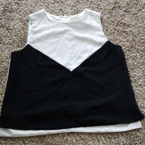 Kenar Colorblock Black & White Sleeveless Top M